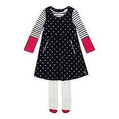 J by Jasper Conran - Girls' Navy Spotted Dress, Top and Tights Set
