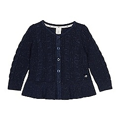J by Jasper Conran - Girls' navy cable knit cardigan