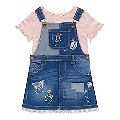 Mantaray - 'Girls' blue denim bird embroidered pinafore dress and striped top set