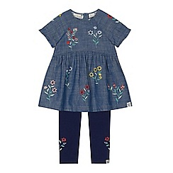 Mantaray - Girls' blue floral embroidered denim tunic and leggings set