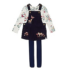 Mantaray - Girls' navy corduroy embroidered deer dungarees, white floral print top and tights set