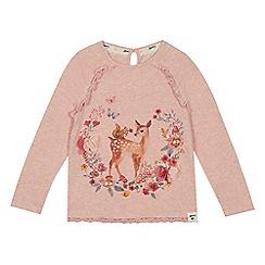 Mantaray - Girls' pink deer print top