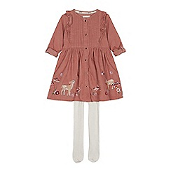 Mantaray - Girls' pink woodland print cord dress and tights