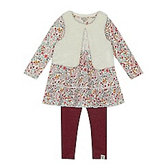 Mantaray - Girls' multicoloured floral print dress, gilet and leggings