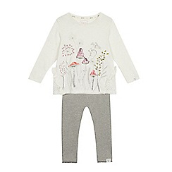 Mantaray - Girls' off white woodland print top with ribbed leggings