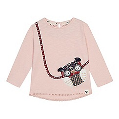 Mantaray - Girls' pink owl embroidered cotton T-shirt