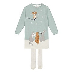 Mantaray - Girls' bright turquoise animal knit tunic and tights set