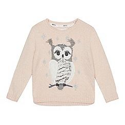 Mantaray - Girls' light pink knitted owl jumper