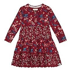 Mantaray - Girls' maroon woodland floral print dress