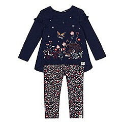 Mantaray - Girls' navy embroidered jersey top and bottoms set