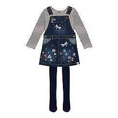 Mantaray - Girls' navy embroidered pinny, top and tights set