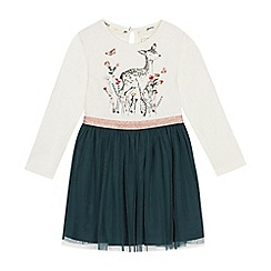 Mantaray - Girls' Dark Green Deer Print Dress