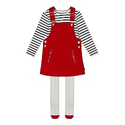 J by Jasper Conran - Girls' Red Cord Pinafore, Tops and Tights Set