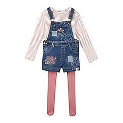 Mantaray - Girls' Blue Patchwork Denim Dungarees, Striped Top and Tights Set