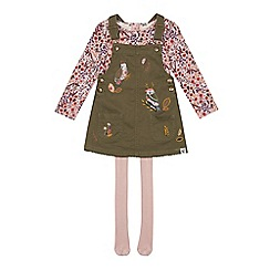 Mantaray - Girls' Khaki Pinafore, Tops and Tights Set
