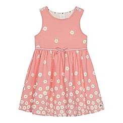 J by Jasper Conran - Girls' Pale Pink Textured Floral Print Dress