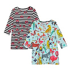 bluezoo - 2 Pack Girls' Multicoloured Animal and Striped Rainbow Print Dresses