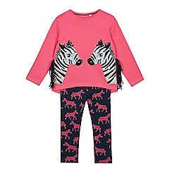 bluezoo - Girls' Pink Sequinned Zebra Cotton Top and Leggings Set