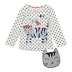 bluezoo - Girls' Off White Sequinned Cat Top with a Bag