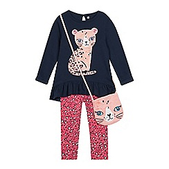 bluezoo - Girls' Multicoloured Cat Applique Top, Leggings and Bag Set