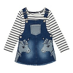 bluezoo - Girls' Blue Unicorn Applique Denim Pinny and Top Set