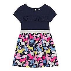 bluezoo - Girls' Navy Unicorn Print Dress