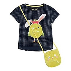 bluezoo - Girls' Navy Polka Dot Chick Applique T-Shirt and Sequin Bag Set