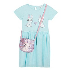 bluezoo - Girls' Aqua Sequinned Bunny Dress and Bag