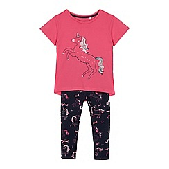 bluezoo - Girls' Light Pink Unicorn Jersey Top and Bottoms Set