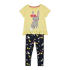 bluezoo - Girls' Yellow Sequinned Bunny Top and Leggings Set