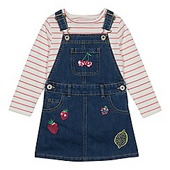 bluezoo - Girls' Multicoloured Fruit Sequinned Denim Pinafore and Top Set