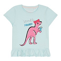 bluezoo - Girls' Light Blue Sequinned Dinosaur T-Shirt