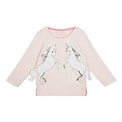bluezoo - Girls' Pink Sequinned Unicorn T-Shirt