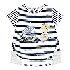Mantaray - Girls' Blue Mouse Applique T-Shirt