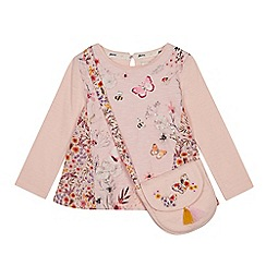 Mantaray - Girls' Pink Floral T-Shirt and Bag