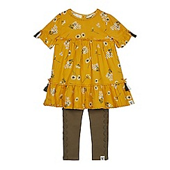 Mantaray - Girls' Mustard Floral Print Top and Bottoms Set