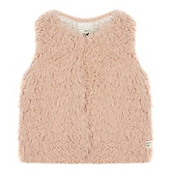 Mantaray - Girls' Pink Faux Fur Gilet