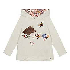 Mantaray - Girls' Natural Hedgehog Applique Hoodie