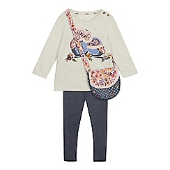Mantaray - Girls' Cream Owl Applique Top, Bottoms and Bag Set