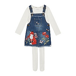 Mantaray - Girls' Blue Denim Embroidered Fox Pinafore, Top and Tights Set