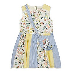 Mantaray - Girls' Bright Yellow Floral Panel Dress and Bag Set