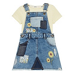 Mantaray - Girls' Blue Denim Pinafore and Striped T-Shirt Set