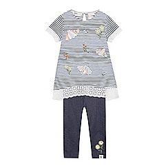 Mantaray - Girls' Blue Striped Top and Bottoms Set