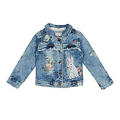 Mantaray - Girls' Blue Floral Bunny Embroidered Denim Jacket