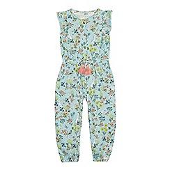 Mantaray - Girls' Green Floral Rabbit Print Jumpsuit