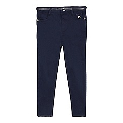 J by Jasper Conran - Girls' navy skinny stretch belted trousers