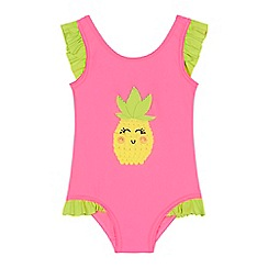 bluezoo - 'Girls' pink pineapple frill swimsuit