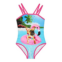bluezoo - Girls' multi-coloured French bulldog print swimsuit