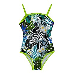 bluezoo - Girls' multi-coloured sequinned embellished zebra print swimsuit