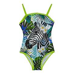 bluezoo - Girls' multi-coloured sequinned embellished zebra print swimsuit